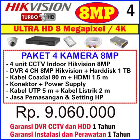 Paket CCTV Hikvision 8 Megapixel - CCTV Hikvision Bekasi